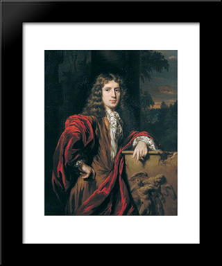 Portrait Of A Man Of The Campbell Of Argyll Clan: Modern Black Framed Art Print by Nicolaes Maes