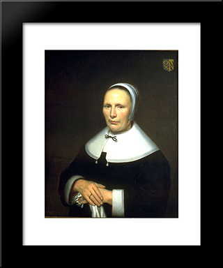 Portrait Of A Woman: Modern Black Framed Art Print by Nicolaes Maes