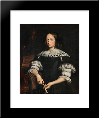 Portrait Of A Woman With A Fan: Modern Black Framed Art Print by Nicolaes Maes