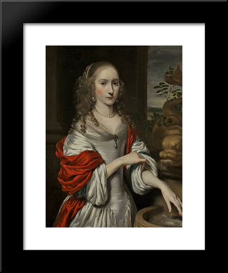 Portrait Of A Young Girl Standing Near A Fountain: Modern Black Framed Art Print by Nicolaes Maes