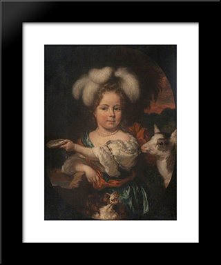 Portrait Of A Young Girl With A Feather Headdress And A Kid: Modern Black Framed Art Print by Nicolaes Maes
