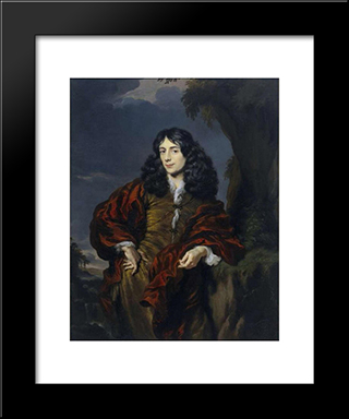 Portrait Of A Young Man, Possibly Simon Van Alphen: Modern Black Framed Art Print by Nicolaes Maes