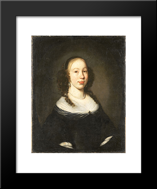 Portrait Of A Young Woman: Modern Black Framed Art Print by Nicolaes Maes