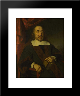 Portrait Of An Elderly Man In A Black Robe: Modern Black Framed Art Print by Nicolaes Maes