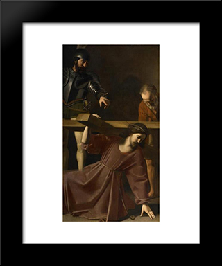 Christ Carrying The Cross: Modern Black Framed Art Print by Nicolas Tournier