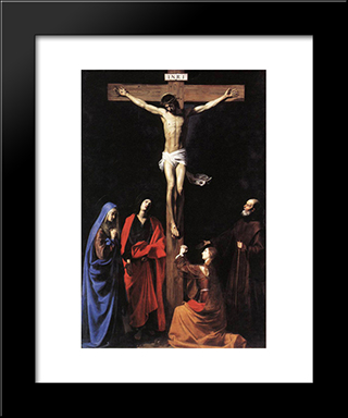 Christ On The Cross With The Virgin, Mary Magdalene, St. John And St. Francis Of Paola: Modern Black Framed Art Print by Nicolas Tournier