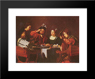 Company At The Table: Modern Black Framed Art Print by Nicolas Tournier