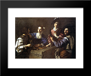 Drinking Party With A Lute Player: Modern Black Framed Art Print by Nicolas Tournier