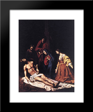 The Descent From The Cross: Modern Black Framed Art Print by Nicolas Tournier