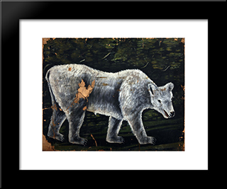 A Bear: Modern Black Framed Art Print by Niko Pirosmani