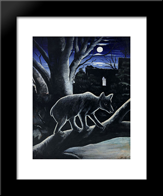 A Bear In A Moon Night: Modern Black Framed Art Print by Niko Pirosmani