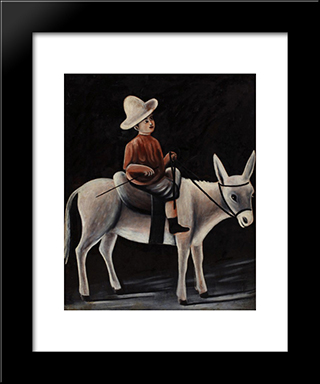 A Boy On A Donkey: Modern Black Framed Art Print by Niko Pirosmani