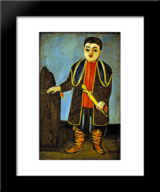A Boy With National Georgian Suit: Modern Black Framed Art Print by Niko Pirosmani