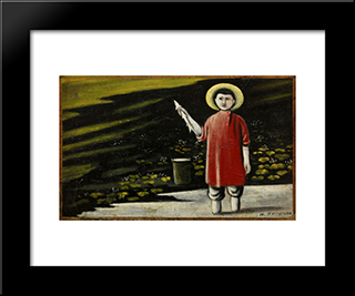 A Young Fisherman: Modern Black Framed Art Print by Niko Pirosmani