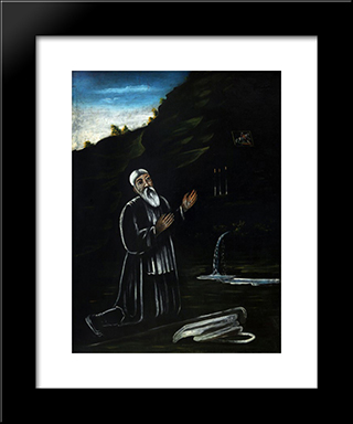 Anchorite Giorgi: Modern Black Framed Art Print by Niko Pirosmani