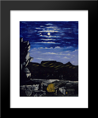 Arsenali Mountain At Night: Modern Black Framed Art Print by Niko Pirosmani