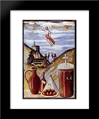 Ascension Day (Easter): Modern Black Framed Art Print by Niko Pirosmani