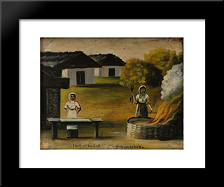 Baking Bread: Modern Black Framed Art Print by Niko Pirosmani
