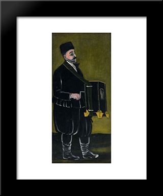 Barrel Organ Player: Modern Black Framed Art Print by Niko Pirosmani
