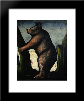 Bear Cub: Modern Black Framed Art Print by Niko Pirosmani