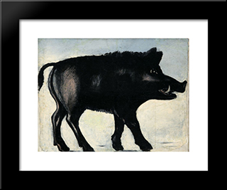 Boar: Custom Black Or Gold Ornate Gallery Style Framed Art Print by Niko Pirosmani