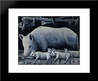 White Sow With Piglets: Modern Black Framed Art Print by Niko Pirosmani