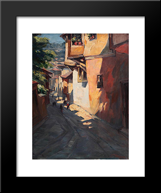 Street In Sofia: Modern Black Framed Art Print by Nikola Tanev