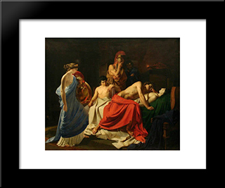 Achilles And The Body Of Patroclus: Modern Black Framed Art Print by Nikolai Ge