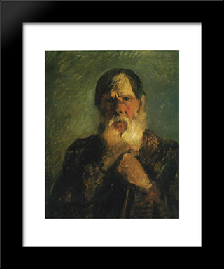 An Old Peasant: Modern Black Framed Art Print by Nikolai Ge