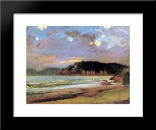Bay In Livorno. Sunset: Custom Black Wood Framed Art Print by Nikolai Ge