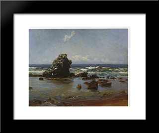 Bay In Livorno: Modern Black Framed Art Print by Nikolai Ge