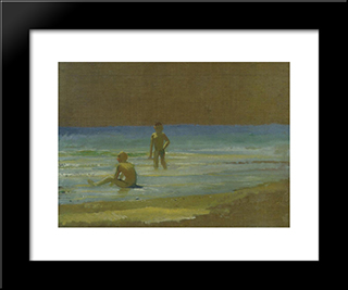 Boys At The Beach. Study: Custom Black Wood Framed Art Print by Nikolai Ge