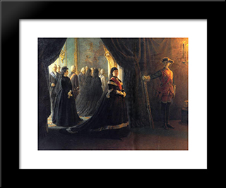 Catherine Ii (1729-96) At The Coffin Of Empress Elizabeth (1709-61): Modern Black Framed Art Print by Nikolai Ge