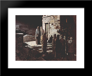 Christ And His Disciples Entered The Garden Of Gethsemane: Modern Black Framed Art Print by Nikolai Ge