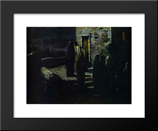 Christ And The Disciples Going Out Into The Garden Of Gethsemane After The Last Supper: Modern Black Framed Art Print by Nikolai Ge