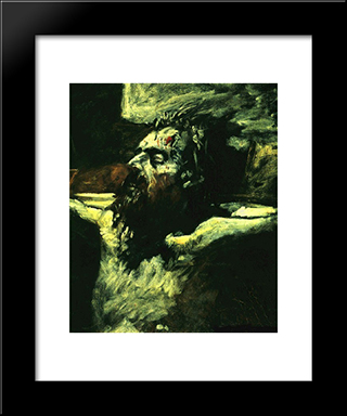 Christ Head: Modern Black Framed Art Print by Nikolai Ge