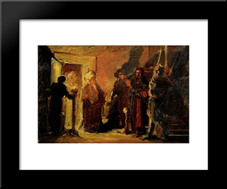 Christ In Front Of Annas: Modern Black Framed Art Print by Nikolai Ge