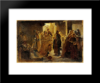 Christ In The Synagogue: Modern Black Framed Art Print by Nikolai Ge