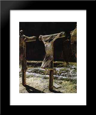 Crucifixion: Modern Black Framed Art Print by Nikolai Ge
