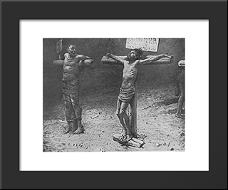 Crusifixion: Modern Black Framed Art Print by Nikolai Ge
