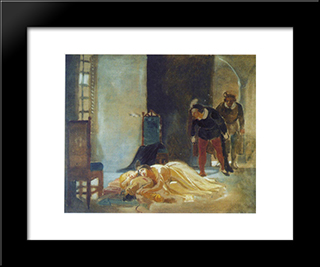 Death Of Imelda Lambertatstsi: Custom Black Wood Framed Art Print by Nikolai Ge