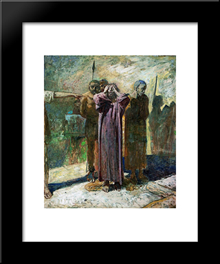 Golgotha: Modern Black Framed Art Print by Nikolai Ge