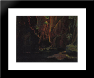Gorge In The Mountains Of Carrara: Modern Black Framed Art Print by Nikolai Ge