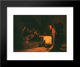 Last Supper: Modern Black Framed Art Print by Nikolai Ge
