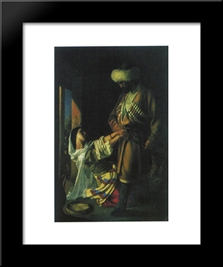 Leila And Khaji-Abrek: Modern Black Framed Art Print by Nikolai Ge