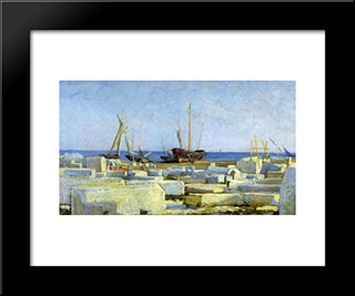 Loading Marble: Custom Black Wood Framed Art Print by Nikolai Ge