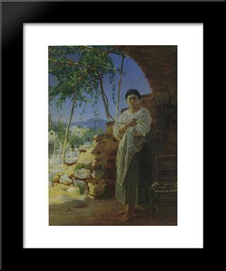 Mother At The Funeral Of Her Child: Modern Black Framed Art Print by Nikolai Ge