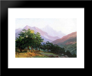 Oaks In The Mountains Of Carrara: Modern Black Framed Art Print by Nikolai Ge