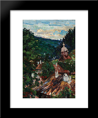 Agapia Valley: Modern Black Framed Art Print by Octav Bancila