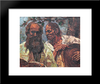 Confession Of The Peasant (Composition With Self-Portrait): Modern Black Framed Art Print by Octav Bancila